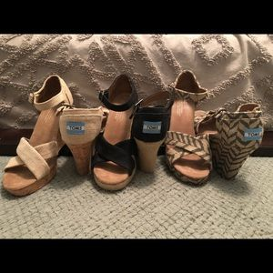TOMS women's wedges 3 pair size 7